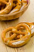 pretzels on kitchen table - stock photo