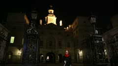 Horse Guards at night with sentry Stock Footage