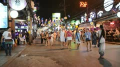 Patong bangla road at night, phuket, thailand Stock Footage