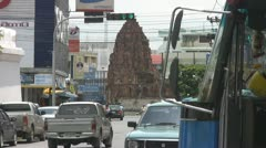 A Bus and Ancient Monument at Lopburi p91 Stock Footage
