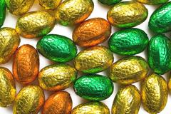 Colorful chocolate eggs Stock Photos
