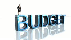 Business Woman stands on Budget Stock Footage