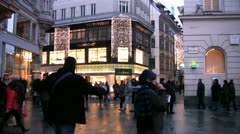 Busy shopping precinct in Vienna at Christmas - stock footage