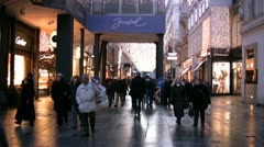 A busy shopping precinct in Vienna with shoppers - stock footage
