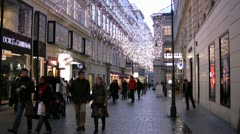 Shopping precinct in Vienna with Christmas lights - stock footage