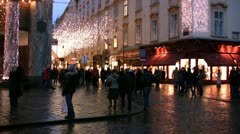 A cobbled street in a shopping district of Vienna - stock footage