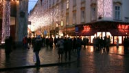 Stock Video Footage of A cobbled street in a shopping district of Vienna