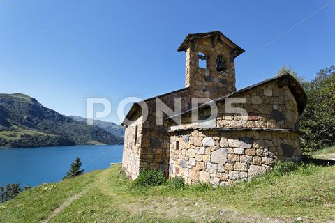 Stock photo of mountain chapel