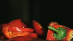 Slicing of a red Paprika, Closeup Stock Footage