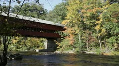 Swift River covered bridge, NH (closer) Stock Footage