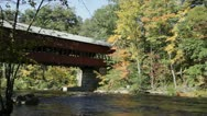 Stock Video Footage of Swift River covered bridge, NH (closer)