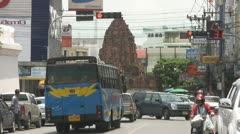 Heavy Traffic and an Ancient Monument p92 Stock Footage