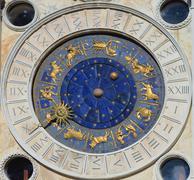 Astronomical clock tower. st. mark's square (piazza san marko), venice, italy Stock Photos