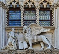 venice, italy architecture fragment doge's palace century - stock photo