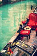 Venice. gondolas. artwork in painting style Stock Photos