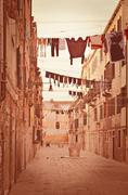Stock Photo of old venetian yard, italy.photo in old color image style.