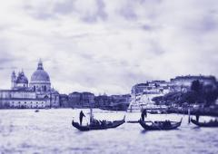 Stock Photo of grand canal in venice, italy. photo in old color image style.
