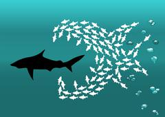 Flock of small fish and shark Stock Illustration