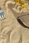 footfall in the sand of the beach - stock photo