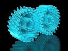 mesh gears - stock photo