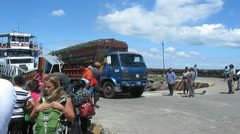 Banana Truck coming from Isla Ometepe Stock Footage