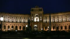 Hofburg palace (Imperial Palace) in Vienna, lit up at night Stock Footage