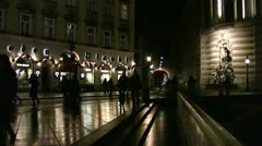 Night scene people walking on a precinct in the central district of Vienna - stock footage
