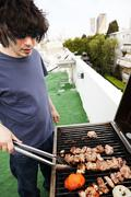 rooftop grillin' - stock photo