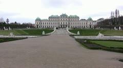 Schloss Belvedere (Belvedere Palace) distant view Stock Footage
