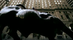 merrill lynch bull-Dolly shot from the side - stock footage