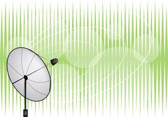 An Illustration of Satellite Dish on Green Background Stock Illustration