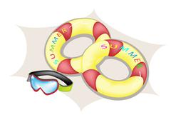 Illustration of Inflatable Ring and Scuba Mask Stock Illustration