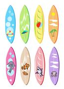 An Illustration Set of Surfboards with Different Designs Stock Illustration