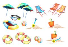 An Illustration of Beach Items for Summertime - stock illustration