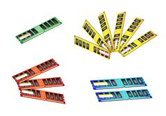 Colorful Illustration Set of Computer RAM Icon Stock Illustration