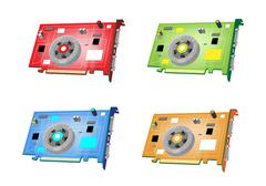 A Colorful Illustration Set of Video Card - stock illustration