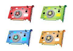 A Colorful Illustration Set of Video Card Stock Illustration