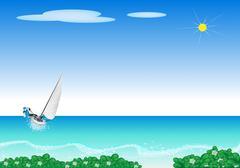 A Small Sail Boat Blasting Through A Sea Stock Illustration