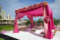 Pink decorations at Hindi wedding Stock Photos