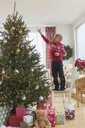 African American boy decorating Christmas tree Stock Photos