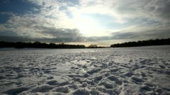 walking on snow alone - stock footage