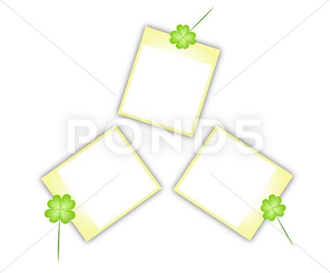 Stock Illustration of Beautiful Fresh Green Shamrocks with Blank Photos