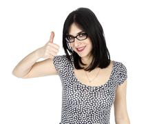isolated thumbs-up 30's woman - stock photo