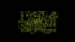 Printed circuit board 012 Vj zoom Srobe yellow Stock Footage
