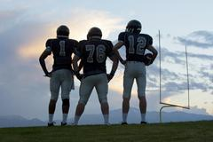 Football players standing on field - stock photo