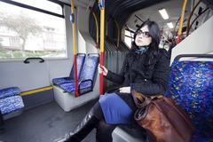 bus woman - stock photo