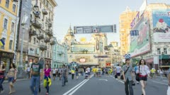 City street, national holiday, people with flags Stock Footage