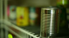Canned goods can food pantry store Stock Footage