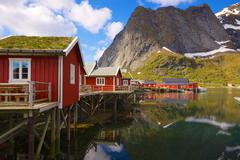 Fishing huts with sod roof Stock Photos