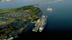 Aerial view Missouri Battleship, Pearl Harbour, Hawaii Stock Footage
